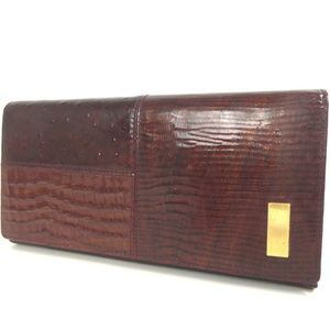 GIVENCHY embossed Leather ostrich croc gold wallet